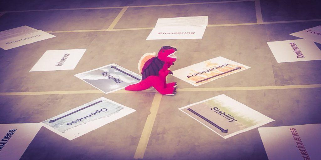 Dinosaur dancing on the floor