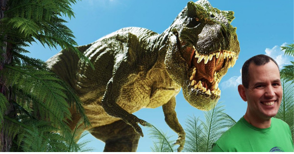 man and dinosaur